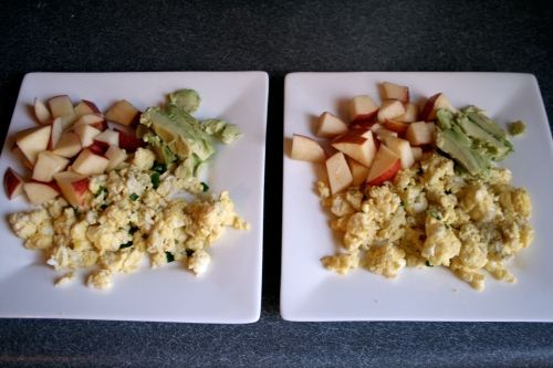 scrambled eggs with chives, sliced apples & avocado